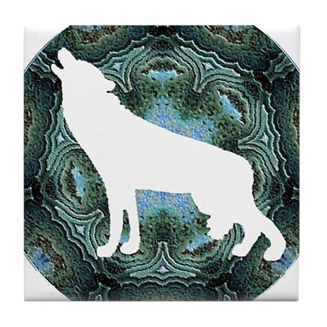 White Wolf Tile Coaster