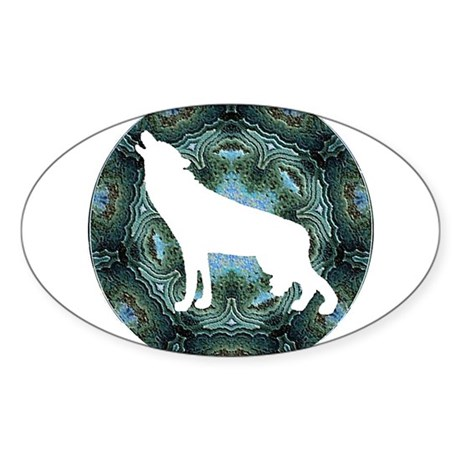 White Wolf Oval Sticker