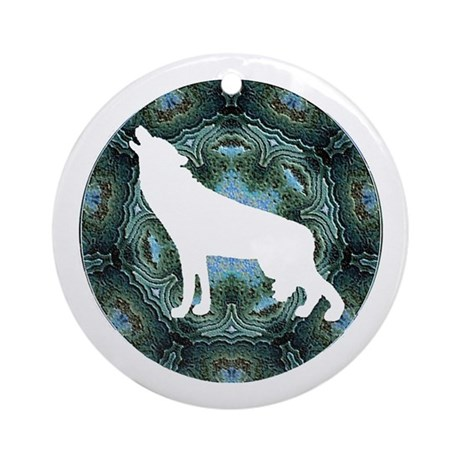 White Wolf Ornament (Round)