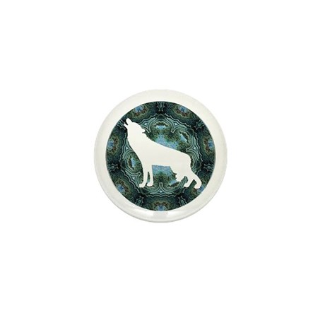 White Wolf Mini Button