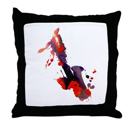 Paint Splat Saxophone Throw Pillow