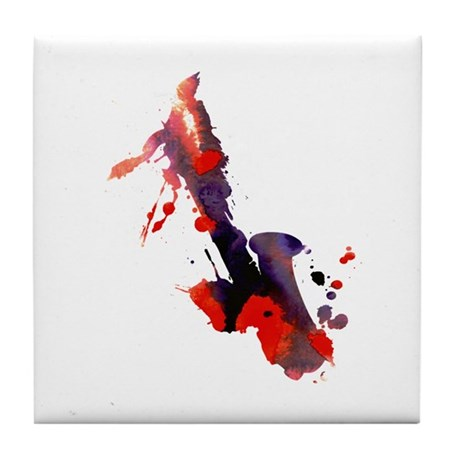 Paint Splat Saxophone Tile Coaster