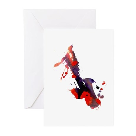Paint Splat Saxophone Greeting Cards (Pk of 10)