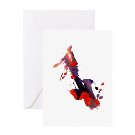 Paint Splat Saxophone Greeting Card