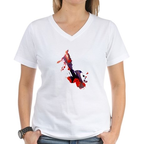Paint Splat Saxophone Women's V-Neck T-Shirt