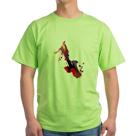 Paint Splat Saxophone Green T-Shirt