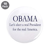 "Obama Real America 3.5"" Button (10 pack)"