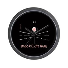 Black Cats Rule Wall Clock