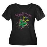 Mardi Gras Mask Women's Plus Size Scoop Neck Dark
