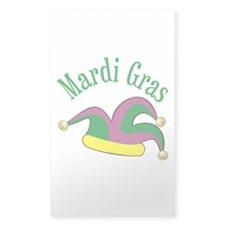 Mardi Gras Jester's Hat Rectangle Decal
