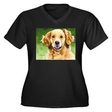 Golden Retriever 4 Women's Plus Size V-Neck Dark T
