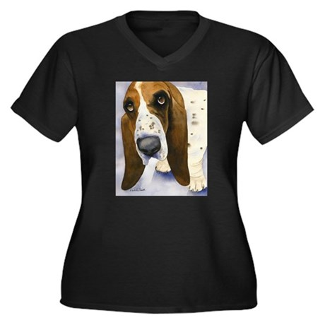 Basset Hound 3 Women's Plus Size V-Neck Dark T-Shi