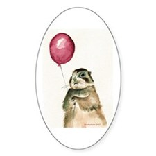 Prairie Dog With Balloon Oval Decal