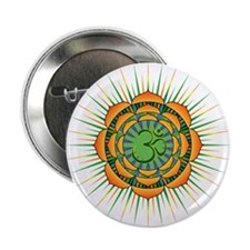 "Om Orange/Green Burst 2.25"" Button"