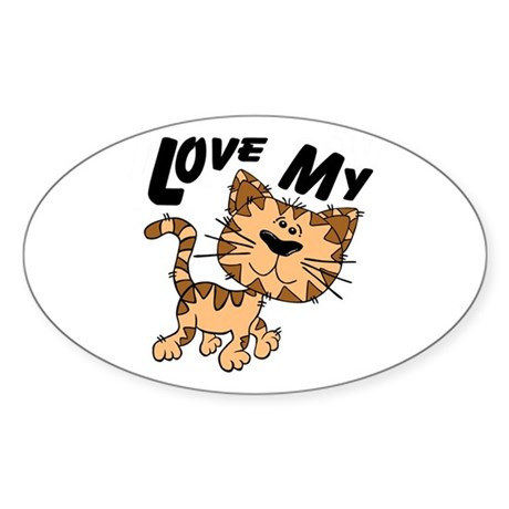 Love My Cat Oval Sticker