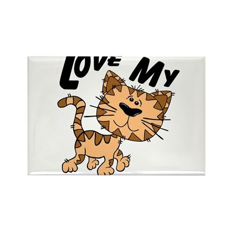 Love My Cat Rectangle Magnet (100 pack)