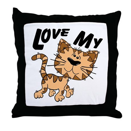 Love My Cat Throw Pillow
