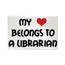 Heart Belongs Librarian Rectangle Magnet (100 pack