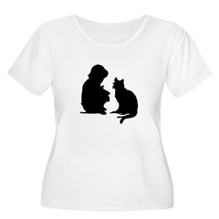 Child and Cat Women's Plus Size Scoop Neck T-Shirt