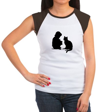 Child and Cat Women's Cap Sleeve T-Shirt