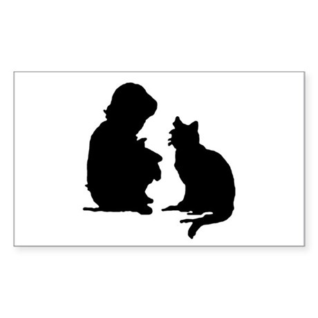 Child and Cat Rectangle Sticker