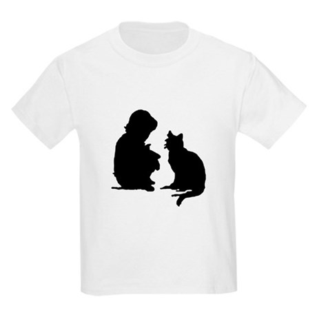 Child and Cat Kids Light T-Shirt