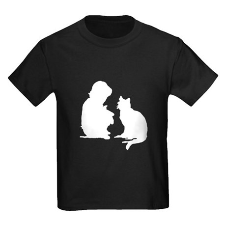 Child and Cat Kids Dark T-Shirt