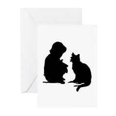 Child and Cat Greeting Cards (Pk of 20)