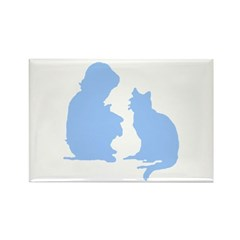 Child and Cat Rectangle Magnet
