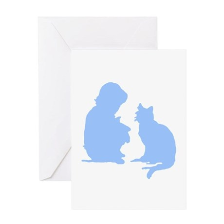 Child and Cat Greeting Card