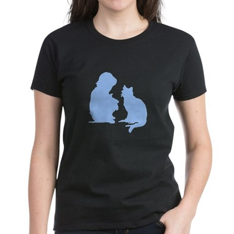 Child and Cat Women's Dark T-Shirt