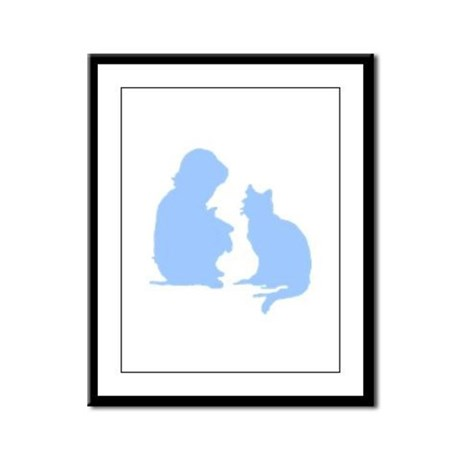 Child and Cat Framed Panel Print