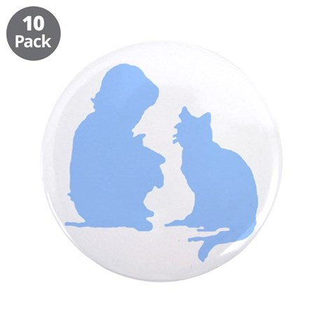 Child and Cat 3.5&quot; Button (10 pack)