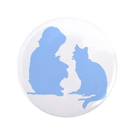 Child and Cat 3.5&quot; Button (100 pack)
