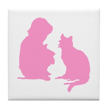 Child and Cat Tile Coaster