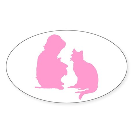 Child and Cat Oval Sticker