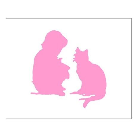 Child and Cat Small Poster