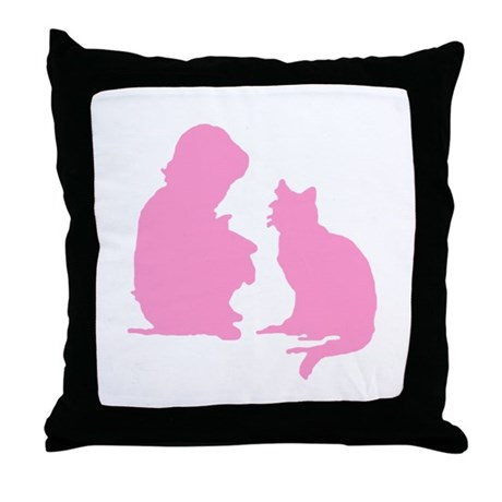 Child and Cat Throw Pillow