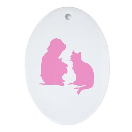 Child and Cat Oval Ornament