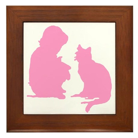 Child and Cat Framed Tile