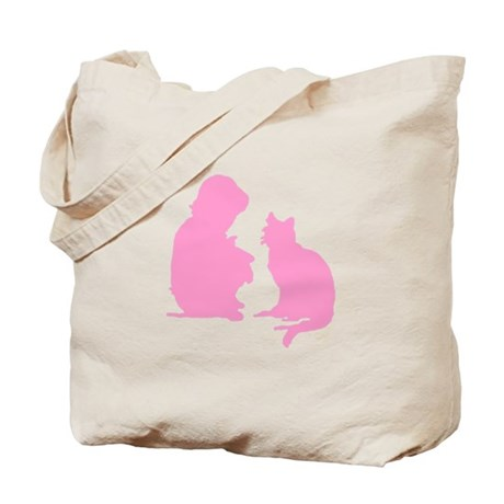Child and Cat Tote Bag
