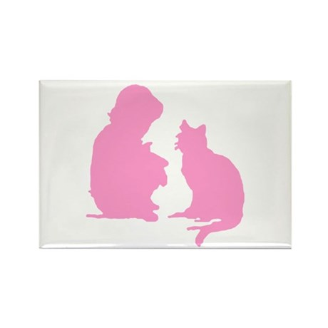 Child and Cat Rectangle Magnet (10 pack)