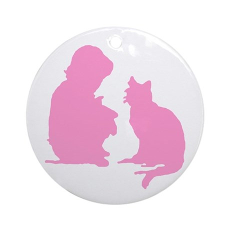 Child and Cat Ornament (Round)