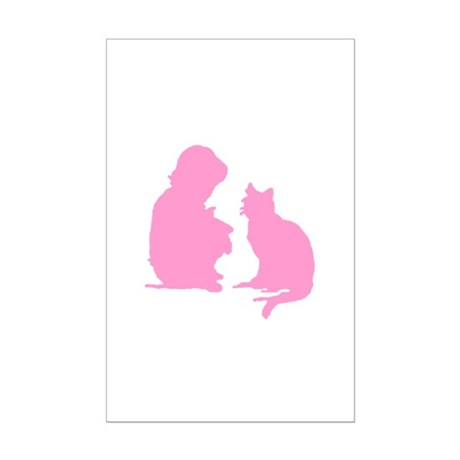 Child and Cat Mini Poster Print