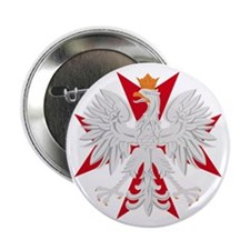 "Polish Eagle Red Maltese Cros 2.25"" Button (100 pa"