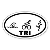TRI Swim Bike Run Oval Decal