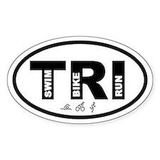 Triathlon Swim Bike Run Oval Decal