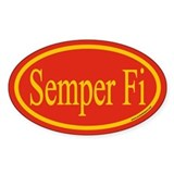 Semper Fi Euro Oval Sticker,