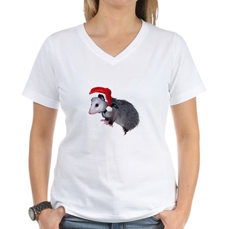 Santa Possum Women's V-Neck T-Shirt