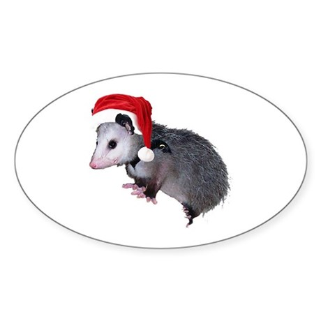 Santa Possum Oval Sticker